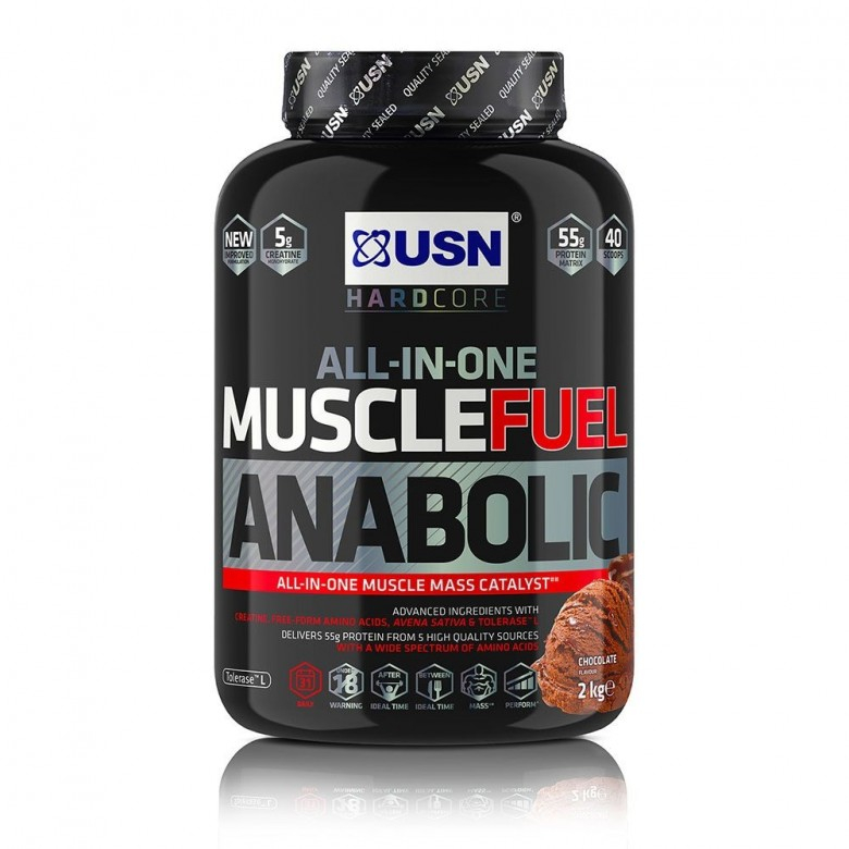 Muscle Fuel MFA Mass Gainer - 2kg Chocolate Gain Supplement USN